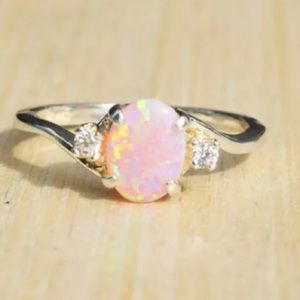 Pink Fire Opal 925 Sterling Silver Ring